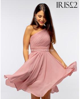 Vestido Grecia Corto Rosa Palo